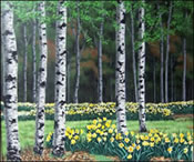 Birch Trees, painting by Jack Knigh