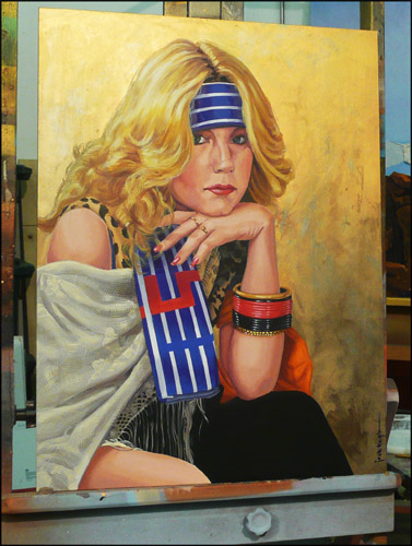 Woman with Striped Bandana,18 x 24 Metallic paint and Acrylic on Panel by Jack Knight, Painter